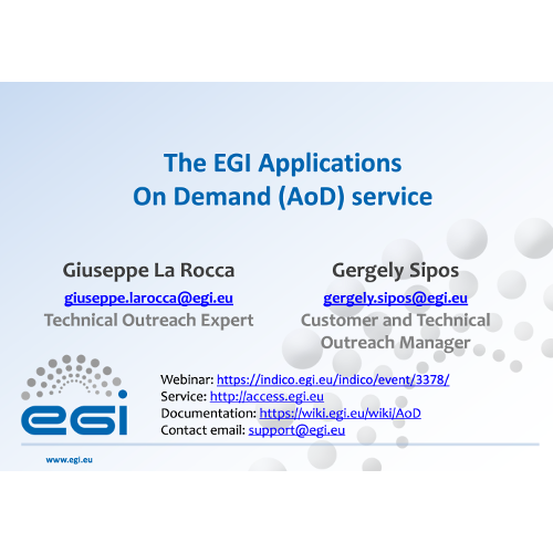 EGI Applications On Demand Service