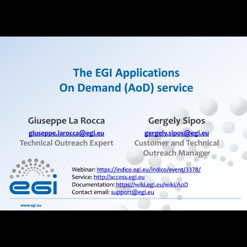 EGI Applications On Demand Service