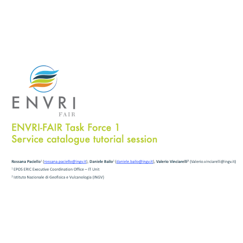 ENVRI-FAIR Task Force 1 Service Catalogue tutorial
